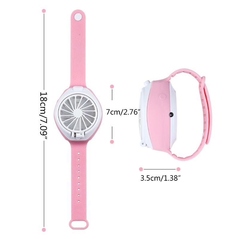 Купить с кэшбэком USB Rechargeable Fan With Comfortable Wrist Strap Portable Mini Fan Watch-Shaped Fan Control For Indoors Or Outdoors Tra