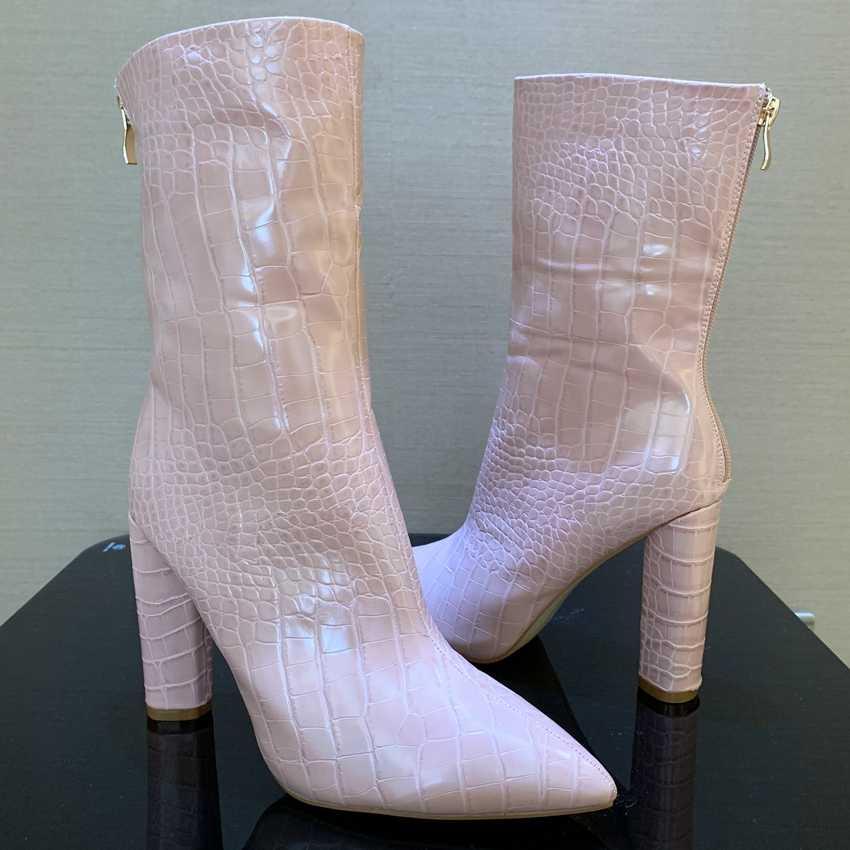 10.5 ซม.ส้นรองเท้าข้อเท้ารองเท้าผู้หญิงหิมะขนสัตว์หนัง Boot สตรีฤดูหนาว Lady Bottine รองเท้าส้นรองเท้า