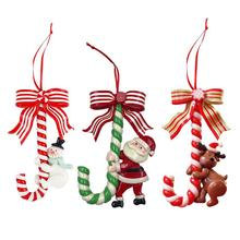 3pcs Candy Cane Hanging Ornament Christmas Party Pendant Holiday Decoration