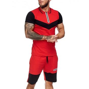 Summer Men Set Sportswear Short Sleeve + Casual Short 2 Piece Set  Thin Track Suits 2020 Mens Fitness Running Sport Sweat Suit 3