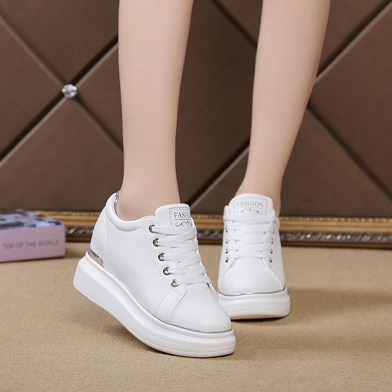 Small White Shoes Female Sneakers 2019 Spring New Korean Version Of The Wild Muffin Thick-soled Tie White Sports Shoes ZD-83