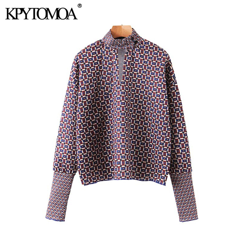 Vintage Elegant Geometric Printed Loose Blouses Women 2020 Fashion High Collar Long Sleeve Office Wear Female Shirt Chic Tops