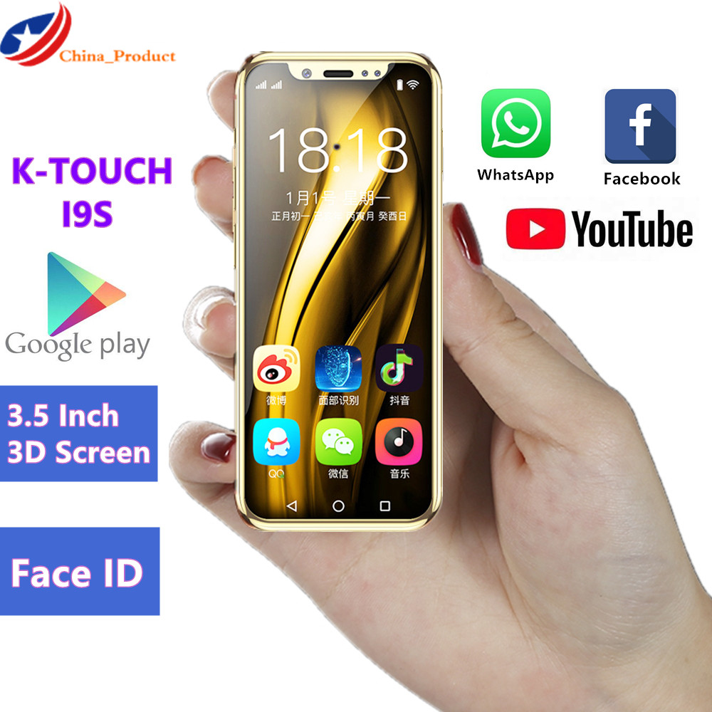 Luxury Mini Mobile Phone K-TOUCH I9S 16GB ROM Android Telephone Google Play Store Face ID GPS WiFi Smallest Children Smartphone