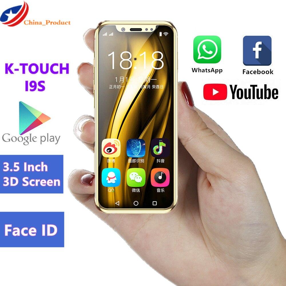 Mini téléphone portable de luxe K-TOUCH I9S 16GB ROM téléphone Android Google play Store identification de visage GPS WiFi plus petit Smartphone pour enfants