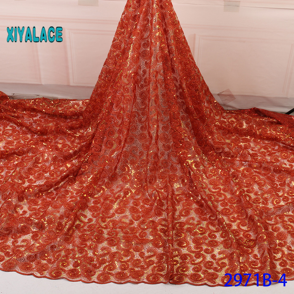 Luxury French Lace Fabric 2019 High Quality African Nigerian Flower Embroidered Tulle Lace Fabric Stones For Wedding YA2971B-4