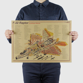 F22 Raptor / Famous Weapon design / Fighter /kraft paper/bar poster Wall Stickers/Retro Poster/decorative painting 51x35.5cm image