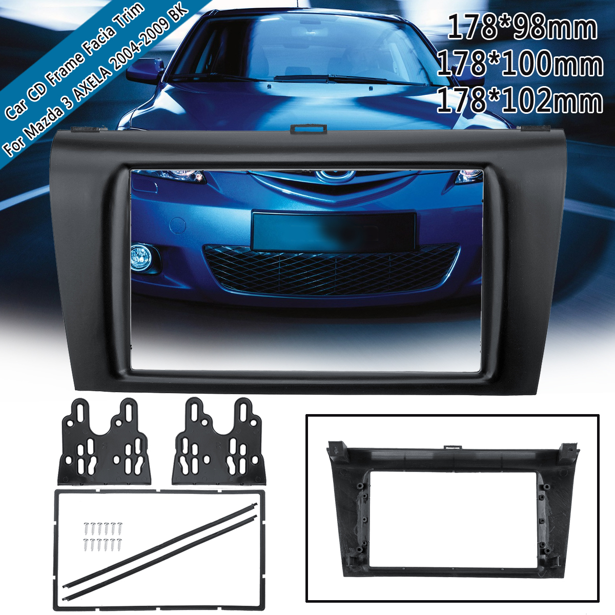 2DIN Car Stereo <font><b>Radio</b></font> DVD Fascia Panel Plate Trim Kit Frame For <font><b>Mazda</b></font> <font><b>3</b></font> AXELA 2004 2005 <font><b>2006</b></font> 2007-2009 178x98/ 178x100/ 178x102m image