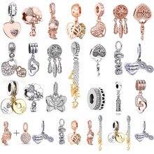 2 шт./лот изящные элегантные подвески из розового золота с цветами, посеребренные Подвески, аксессуары «сделай сам», фирменные дамские брасл...