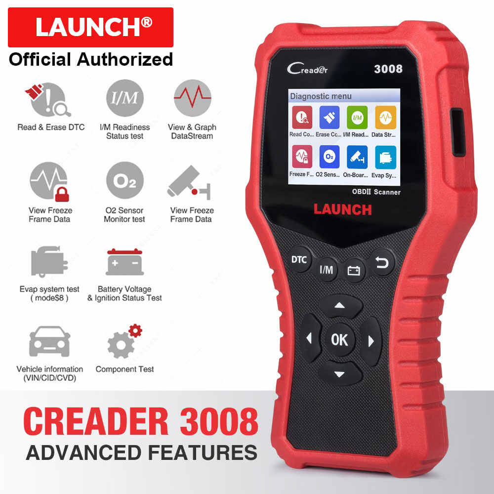 LAUNCH Creader 3008 Scanner support full obd2 + Battery tester function CR3008 OBDII code reader diagnostic tool free update