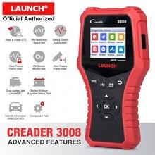 إطلاق كريدر 3008 الماسح الضوئي دعم كامل obd2 + جهاز اختبار بطارية وظيفة CR3008 OBDII رمز القارئ أداة تشخيص تحديث مجاني
