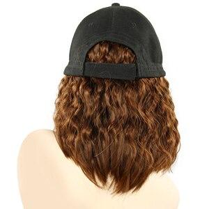 Image 3 - Perruque Bob synthétique courte casquette de Baseball, perruque en Fiber noire et brune résistante à la chaleur pour femmes