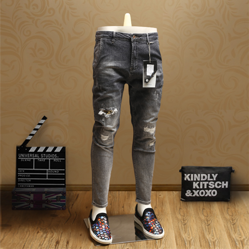 Mens Skinny Patch Ripped Jeans Streetwear Gray Ankle-Length Pants For Cowboys Men PSMJ82