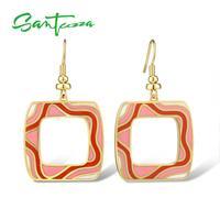 Boucles d'oreilles en laiton SANTUZZA pour femmes couleur or jaune rose et rouge émail à la main géométrique boucles d'oreilles fête bijoux de mode