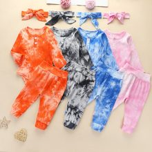 3 шт детские пижамы с длинным рукавом и поясом на резинке