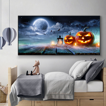 Abstract Landscape Painting Halloween Canvas Art Posters and Prints Wall Art funny Pumpkin Picture for Living Room Home Decor modern abstract landscape picture home decor nordic canvas painting wall art mountain sunrise prints and posters for living room