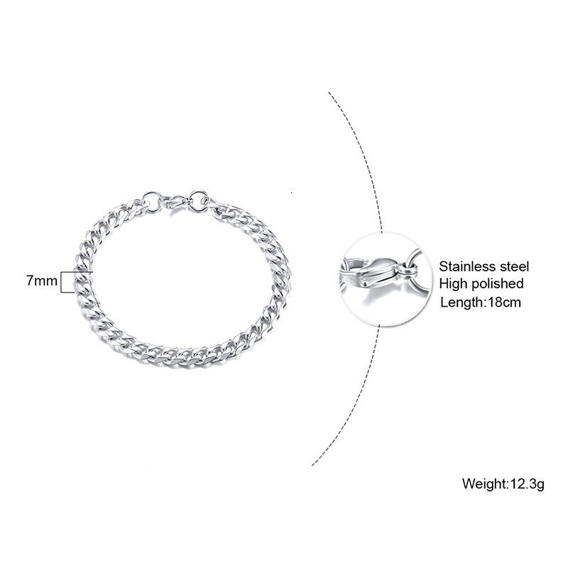PUNK SILVER COLOR CURB CHAIN BRACELET FASHION MEN'S STAINLESS STEEL BANGLE BRACELETS 3MM 5MM 7MM 9MM 11MM 4