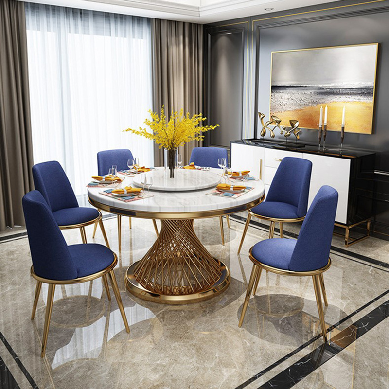 Postmodern Light Luxury Round Marble Dining Table Simple Creative Stainless Steel Dining Table