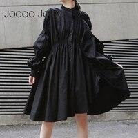 Платье-рубашка Jocoo Jolee в готическом стиле, свободное платье черного и белого цвета с длинными рукавами-фонариками, Асимметричное Платье До К...