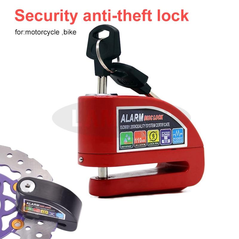 Waterproof Motorcycle Alarm Lock Security Anti-Theft Lock  Disc Brake Lock With Bag Reminder Rope Electromobile Bike Lock