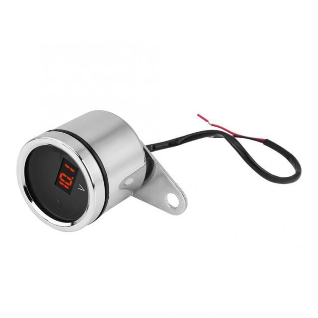 12V Motorcycle LED Light Digital Voltmeter Voltage Meter Gauge Chrome Plating Waterproof
