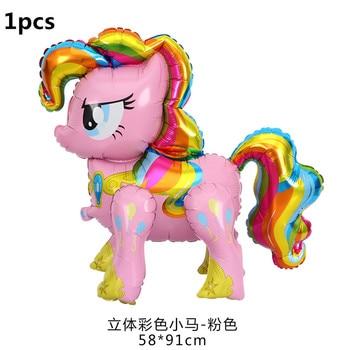 1PC 100*97CM Pink Horse Little Pony Unicorn Foil Balloons Helium Balloon Kids Toys Wedding Birthday Animal Party Decor Supplies 9