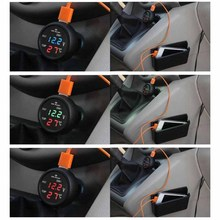 3 In 1 12/24V Car Auto Monitor Display Usb Charging Charger For Phone Tablet Gps Led Digital Voltmeter Gauge Thermometer