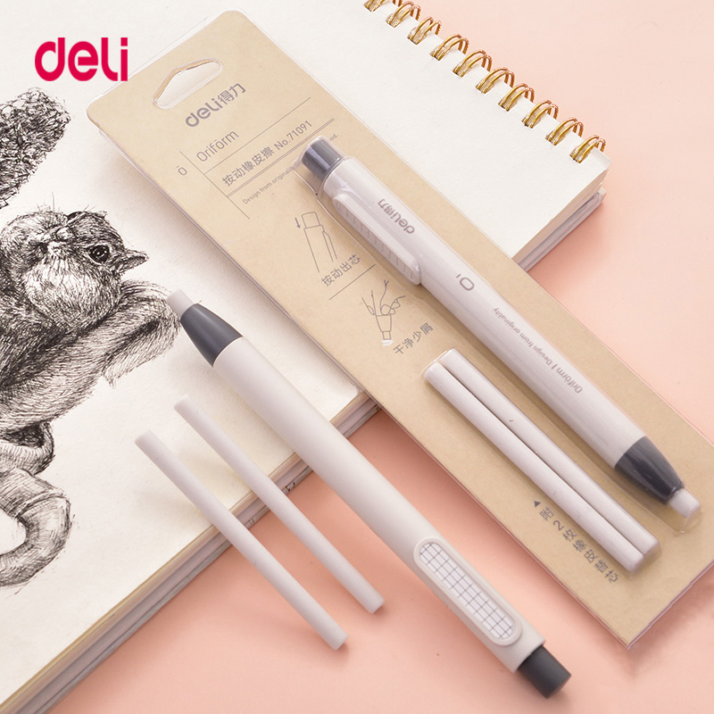 Deli Correction Supplies Pencil Rubber Retractable Press Eraser School Stationery Erasers For Kids