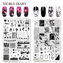 NICOLE DIARY Nail Art Stamp Stamping Image Plate Flower Plants Natural Stainless Steel Nail Template  Stencil Tools