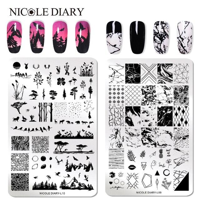 Nicole Nhật Ký Móng Tay Nghệ Thuật Tem Dán Hình Ảnh Tấm Hoa Thực Vật Tự Nhiên Móng Tay Thép Không Rỉ Bản Mẫu Stencil Dụng Cụ