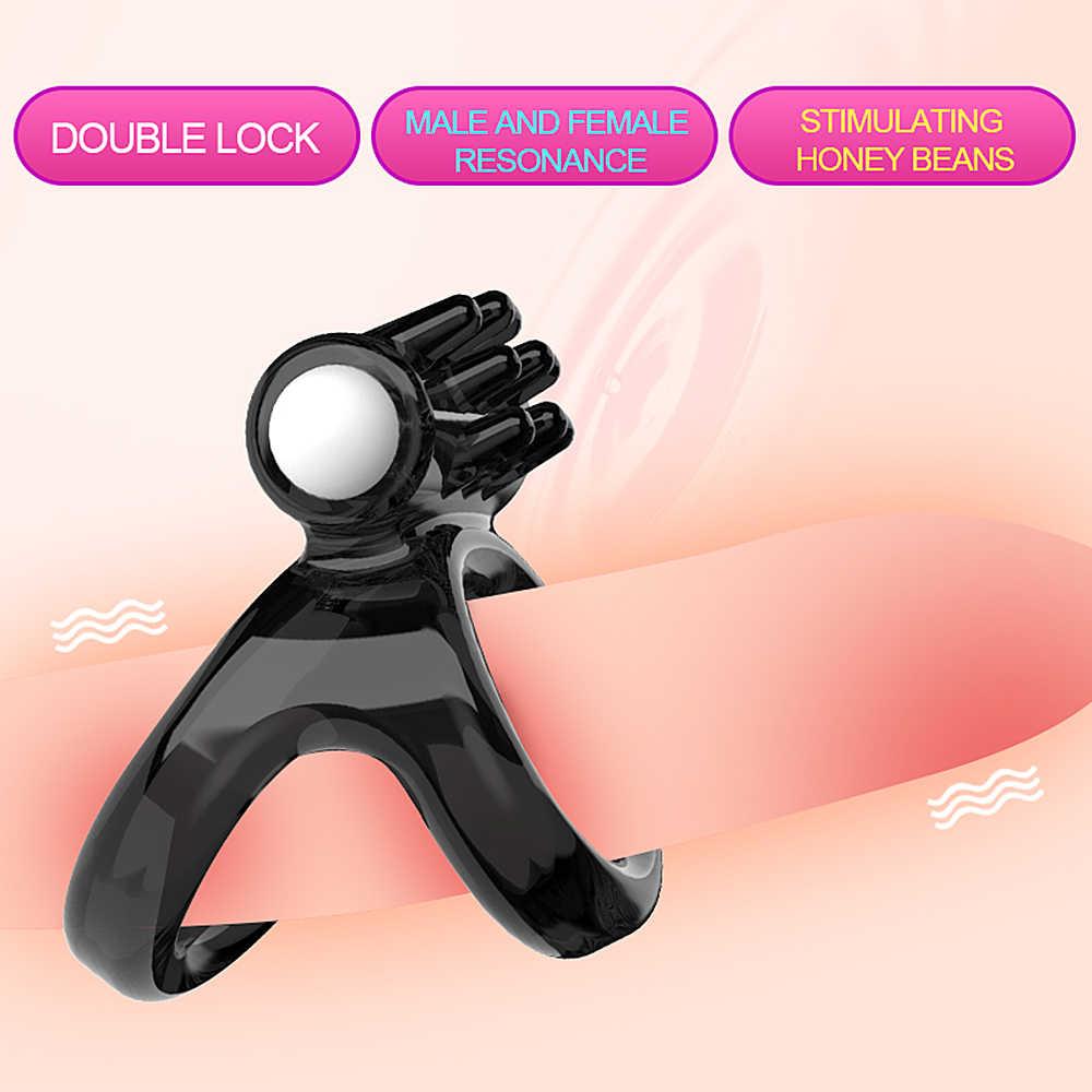 VATINE פין טבעת ויברטור זין טבעת זוג מאהב סקס צעצועי גברים זמן עיכוב טבעת רך סיליקון סקסי כפולה טבעת
