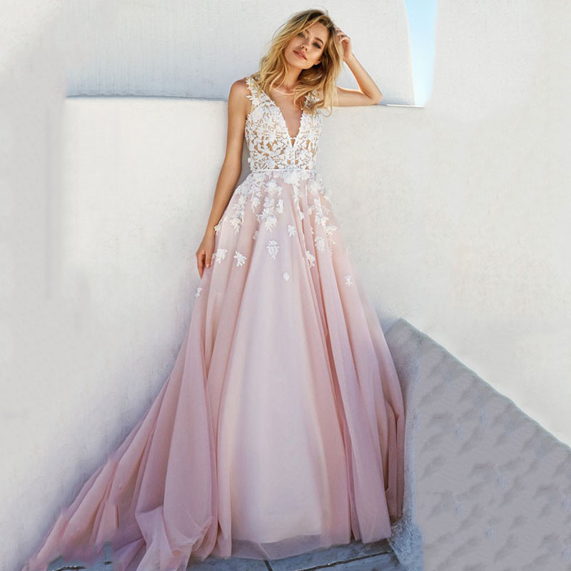 Eightree V-Neck Evening Dress Back Heart Design Pink Fashion Party Long Dress Robe De Soiree Appliques Sweet Wedding Party Dress