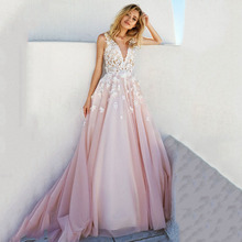 Eightree V-Neck Evening Dress Back Heart Design Pink Fashion Party Long robe de soiree Appliques Sweet Wedding