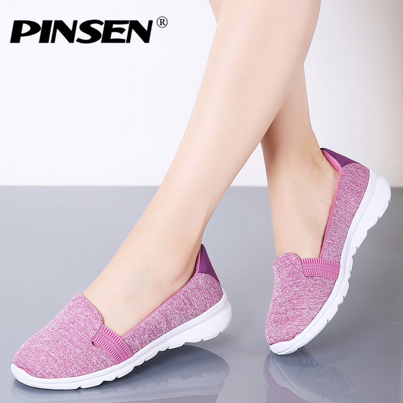 PINSEN Women Sneakers Casual Slip On Ladies Flat Shoes Breathable Mesh Trainers Soft Walking Female Shoes Footwear Zapatos Mujer