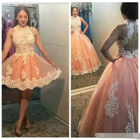 Two Piece Vestidos Sweet 16 Quinceanera Dresses Ball Gown Robe De Bal Sleeveless Lace Applique Tulle Plus Size Prom Dresses