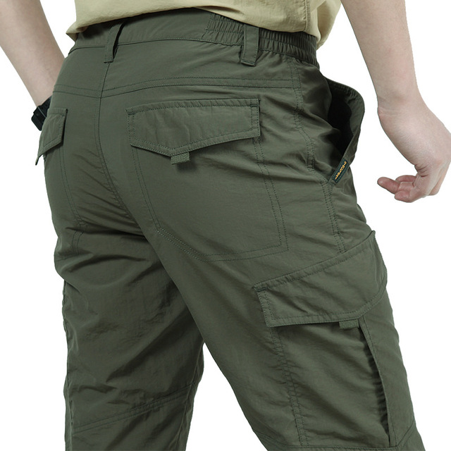 Breathable lightweight Waterproof Quick Dry Casual Pants Men Summer Army Military Style Trousers Men's Tactical Cargo Pants Male 3