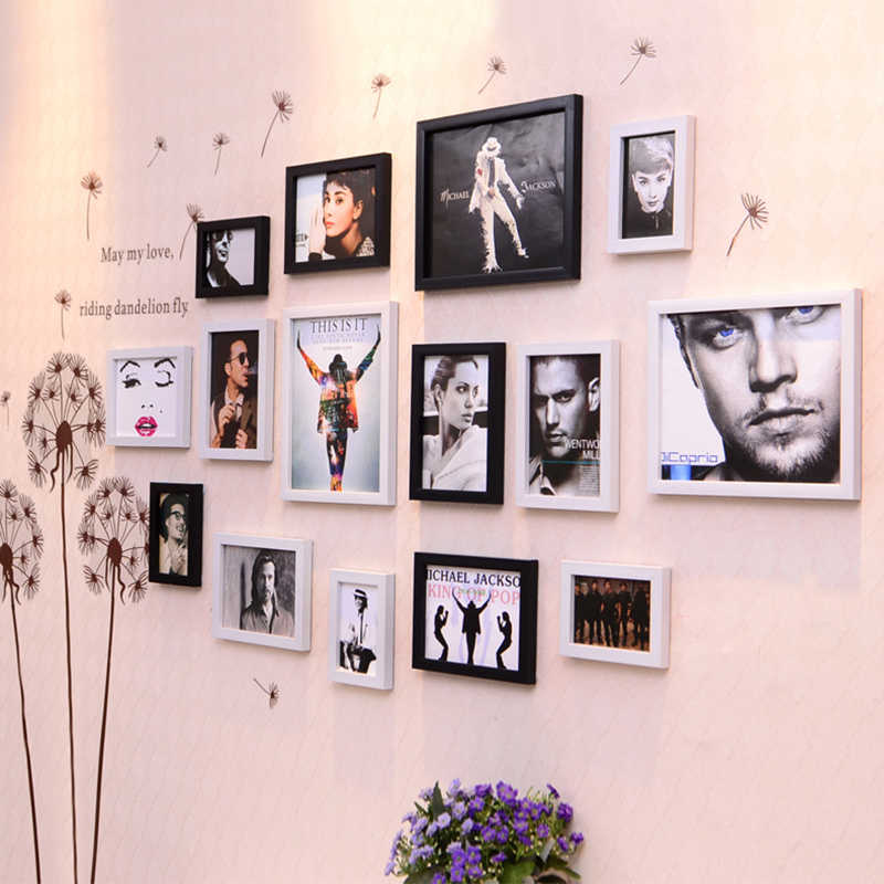 Simple 15 pièces cadres Photo ensemble avec bâton mural décor à la maison cadres Photo combinaison pas cher cadres Photo porta retrato moldura