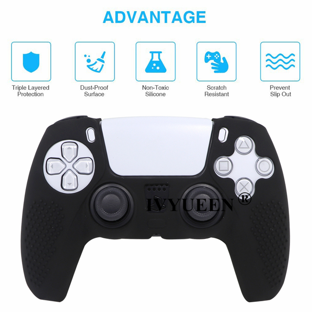 IVYUEEN Anti-slip Silicone Cover Skin for Sony PlayStation Dualshock 5 PS5 Controller Case Thumb Stick Grip Cap for DualSense 3