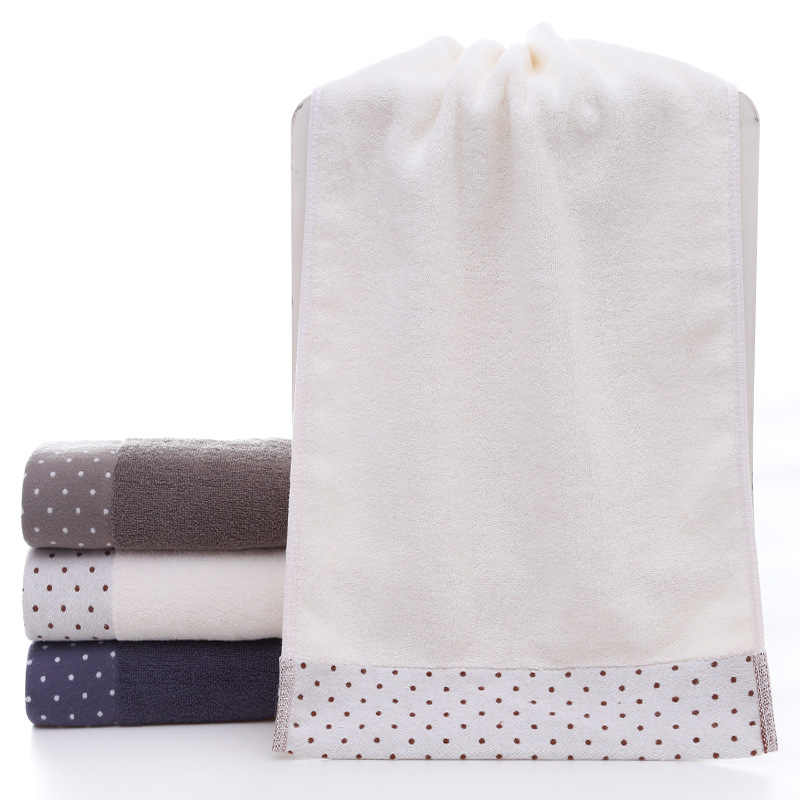 Hot Polka Dot Pure Cotton Bath Towel To Thicken Towel Soft Absorb Water 6 Colors