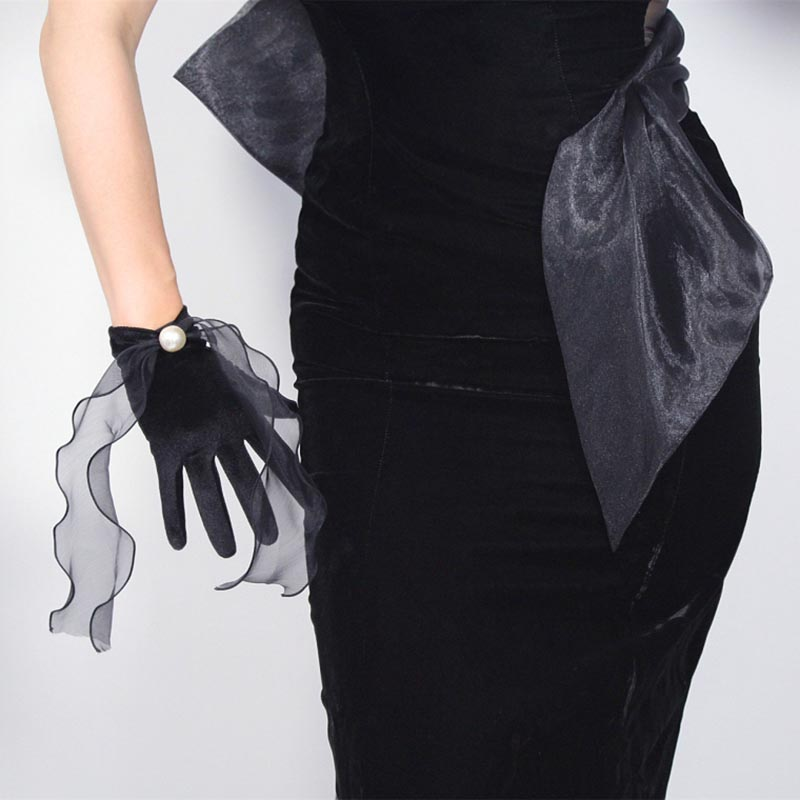 Black Ladies Elegant Velvet Gloves Evening Dress Party Elastic Stretchy Women Spectial Occastion Femme Finger Gloves One Size
