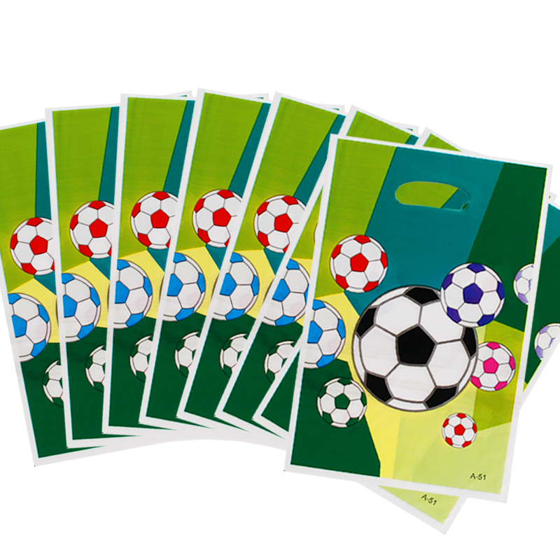 40PCS Kid Boys Favors Soccer Ball Design Gifts Bags Happy Birthday Party Decoration Baby Shower Football Theme Plastic Loot Bags