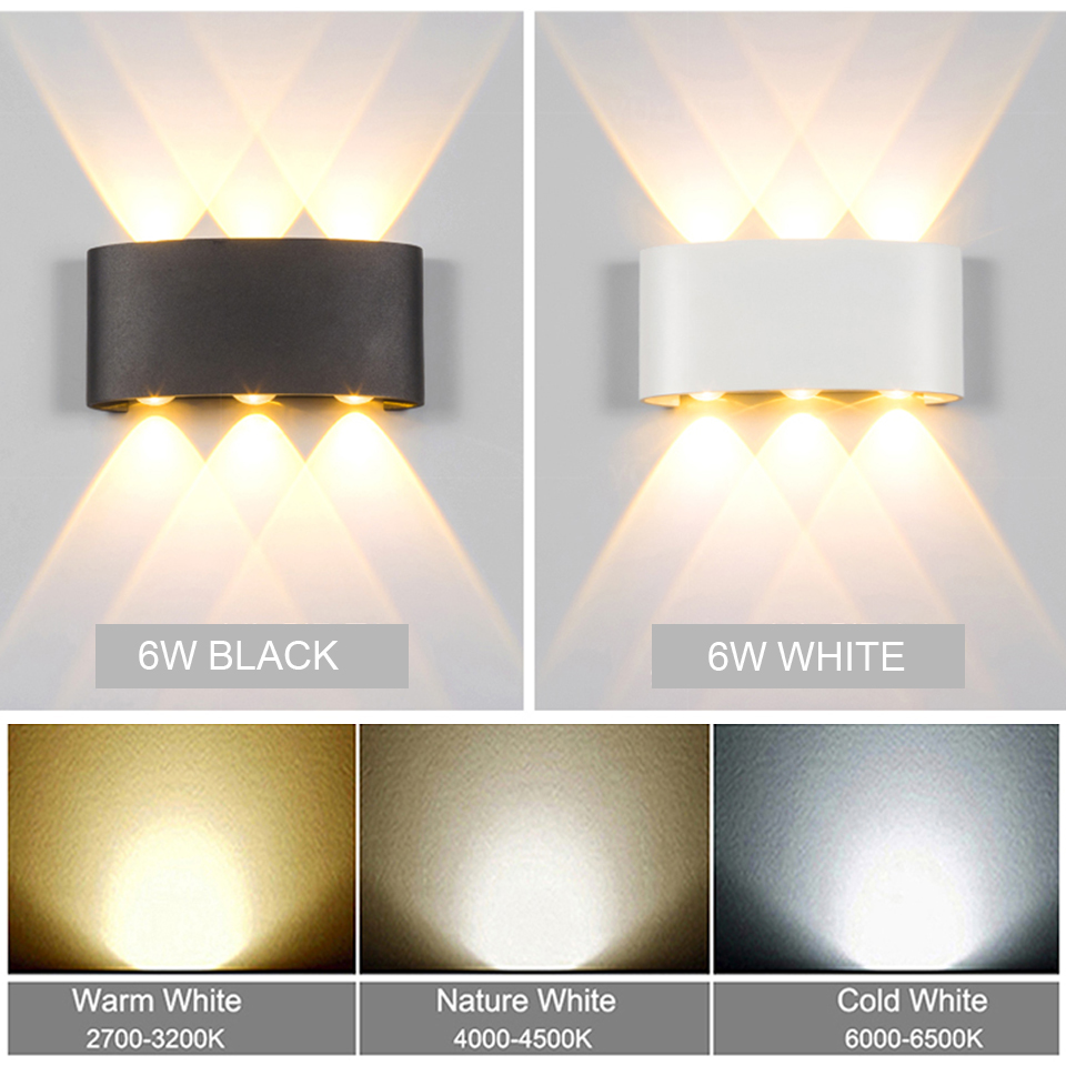 Nordic LED wall lamp Aluminum Waterproof outdoor wall lights for Porch/Garden /Bathroom light led luminaire 4W/6W/8W/10W /12W 4
