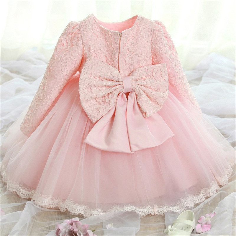 Baby Girl Pink Dress Elegant Princess Dress Winter Long Sleeves Toddler Ball Gowns Christening Gowns Infant Vestido For 0-2Yrs