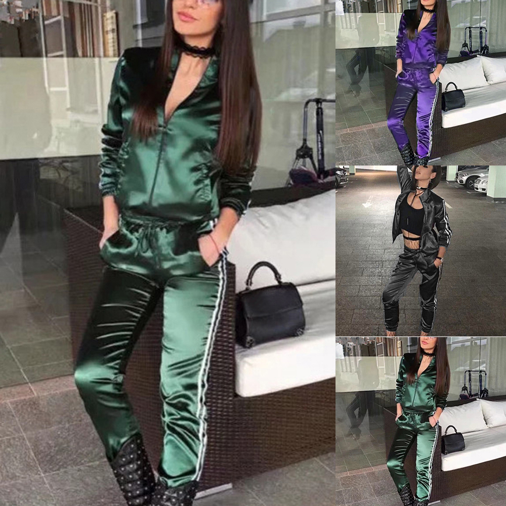 Women Autumn Side Stripe Sets Casual Sporting Female 2 Piece Sets Long Sleeves V Neck Sweatshirts And Pants Zipper Streetwears in Women 39 s Sets from Women 39 s Clothing