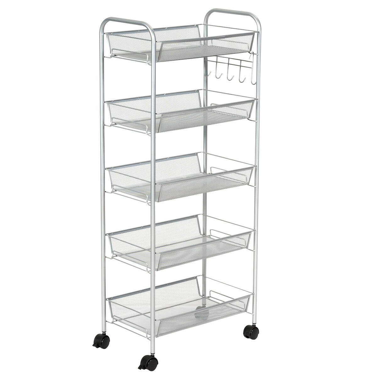 Costway 5 Tier Mesh Rolling File Utility Cart Storage Basket Home Office Kitchen Grey