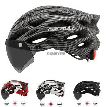 Cairbull ultraleve ciclismo capacete com removível viseira óculos de bicicleta rolos equitação capacetes da motocicleta capacete de proteção 1