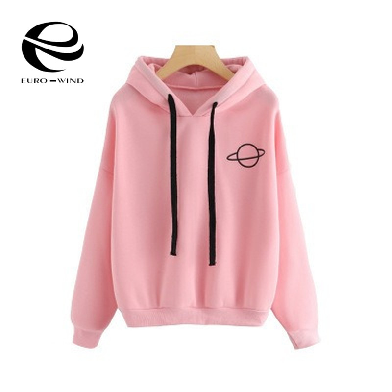 Women Hoodies Planet Print Casual Solid Loose Drawstring Sweatshirt Fashion Long Sleeve Hooded 2019 Autumn Female Pullover Tops