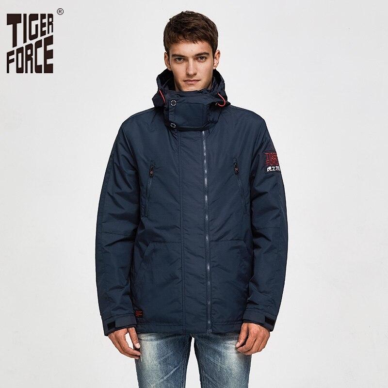 TIGER FORCE  Men Jackets Spring Cotton Padded Jackets Hooded Jacket Waterproof Coat Windbreaker Men's Outerwear