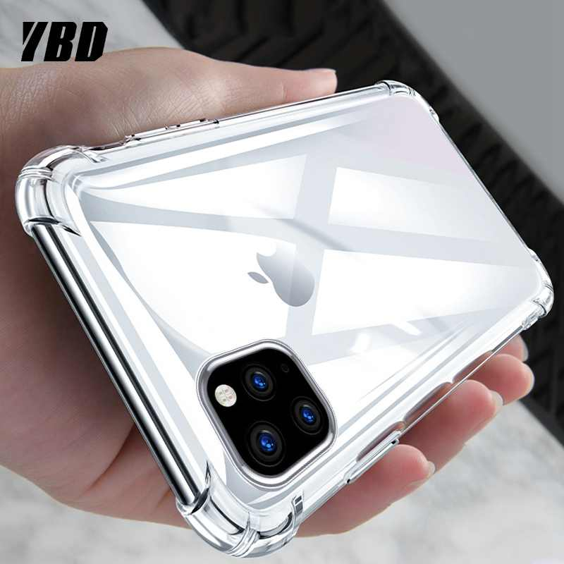 YBD Shockproof Bumper Transparent Silicone Phone Case For iPhone 11 X XS XR XS Max Clear protection Back Case for 8 7 6 6S Plus