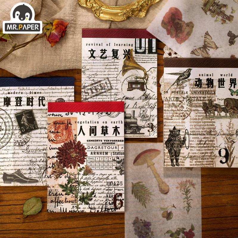 Mr.paper 4 Designs 20Pcs/lot Renaissance Deco Stickers Scrapbooking Cool Bullet Journal Toy Plants Album DIY Stationery Stickers