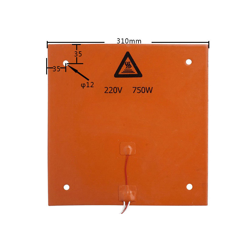 310*310MM Silicone Heater Pad 220V 750W Silicone Heatbed With 3M Adhesive For DIY BLV MGN Cube Creality Cr10 3D Printer
